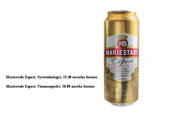 Mariestads Export, prisskillnader mellan Systembolaget och Vinmonopolet.