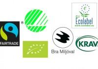 Miljömärkning, Svanen, Bra miljöval, EU-blomman, Miljömärkningar, Krav märket, EU-märket, EU-axet. Fairtrade är en etisk märkning .